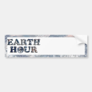Earth Hour Text w Earth Clock Bumper Sticker