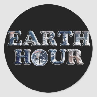 Earth Hour Text w/Earth Clock Round Stickers