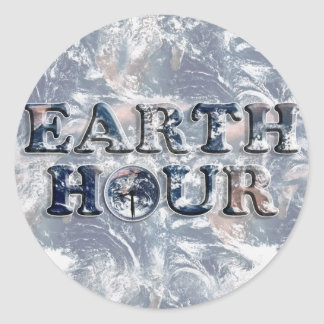 Earth Hour Text w/Earth Clock Round Sticker