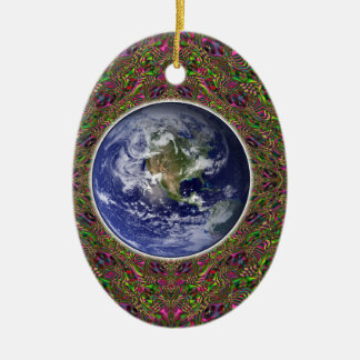 earth in a psychedelic timespace ceramic ornament