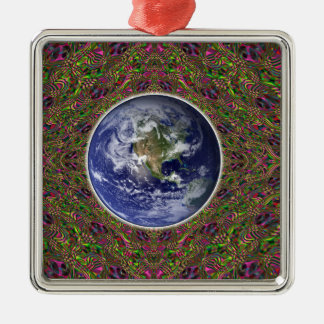 earth in a psychedelic timespace metal ornament