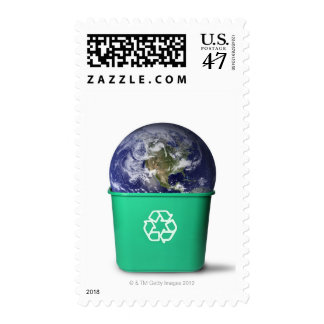 Earth in a recycle bin postage