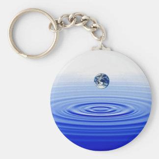 earth in a  water drop keychain