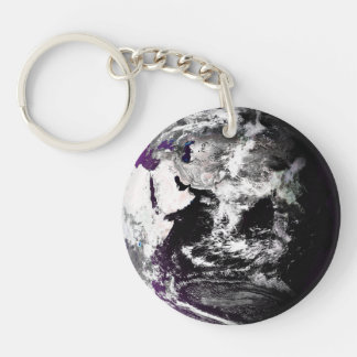Earth In Purples Single-Sided Round Acrylic Keychain