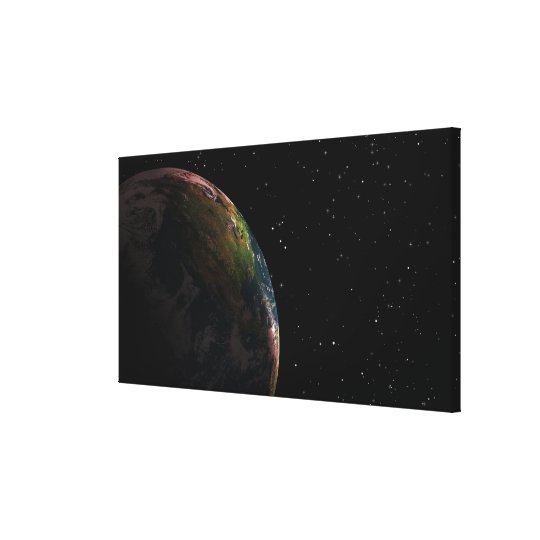 Earth in shadow in outer space canvas print