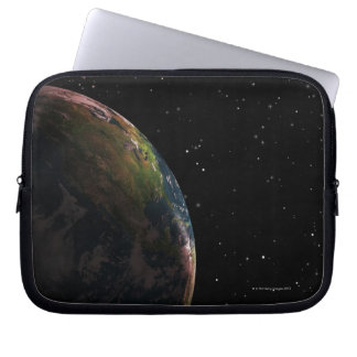Earth in shadow in outer space laptop sleeve