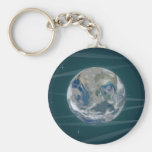 Earth In Space Basic Round Button Keychain