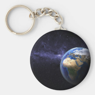 Earth in space key chain