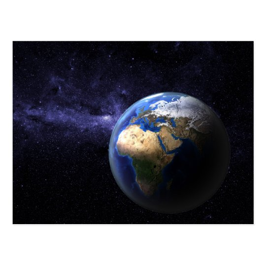 Earth in space postcard