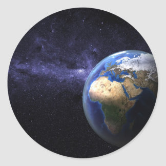 Earth in space round sticker