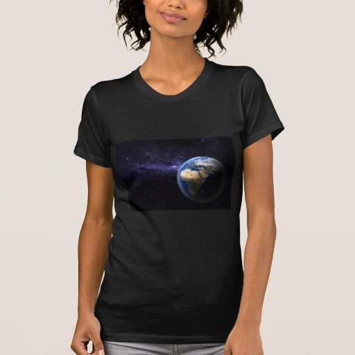 Earth in space t shirts