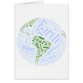 Earth in Tagxedo Greeting Cards