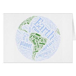 Earth in Tagxedo Greeting Card