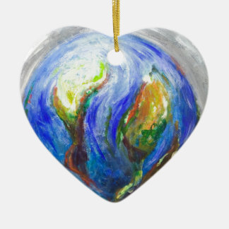 Earth in the cradle (earth surrealism) ceramic ornament