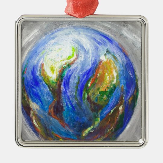 Earth in the cradle (earth surrealism) metal ornament