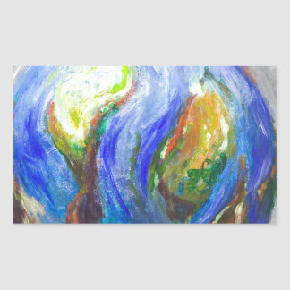 Earth in the cradle (earth surrealism) rectangular sticker