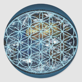 Earth in the Flower of Life - Wrapped in peace Classic Round Sticker