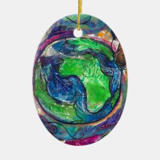 earth.jpg Double-Sided oval ceramic christmas ornament
