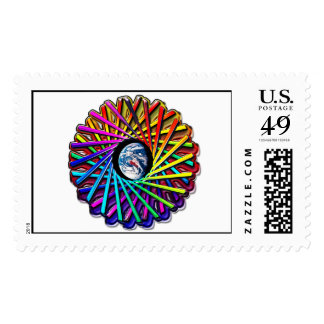 Earth Kaleidoscope View Circle Abstract Postage