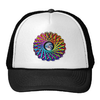 Earth Kaleidoscope View Circle Abstract Print Trucker Hat