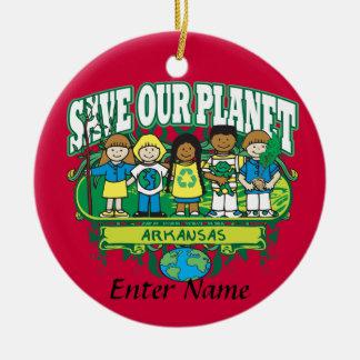 Earth Kids Arkansas Double-Sided Ceramic Round Christmas Ornament