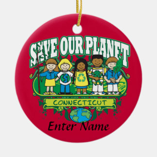 Earth Kids Connecticut Double-Sided Ceramic Round Christmas Ornament