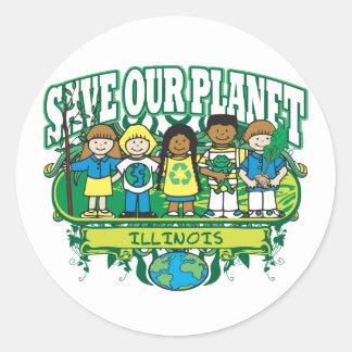 Earth Kids Illinois Classic Round Sticker