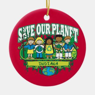 Earth Kids Indiana Double-Sided Ceramic Round Christmas Ornament