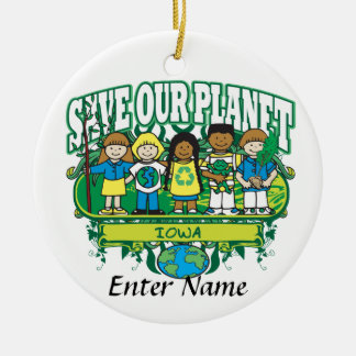 Earth Kids Iowa Double-Sided Ceramic Round Christmas Ornament