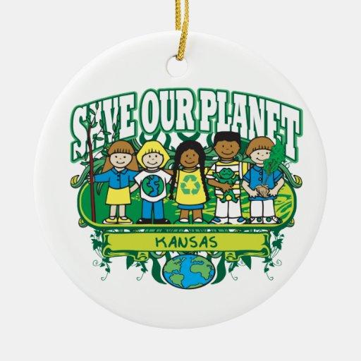 Earth Kids Kansas Double-Sided Ceramic Round Christmas Ornament