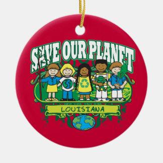Earth Kids Louisiana Double-Sided Ceramic Round Christmas Ornament
