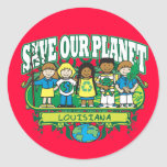 Earth Kids Louisiana Round Stickers