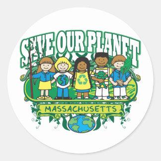 Earth Kids Massachusetts Classic Round Sticker