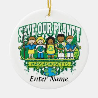 Earth Kids Massachusetts Double-Sided Ceramic Round Christmas Ornament