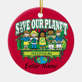 Earth Kids Michigan Double-Sided Ceramic Round Christmas Ornament
