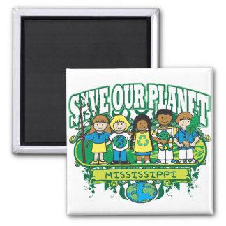 Earth Kids Mississippi 2 Inch Square Magnet