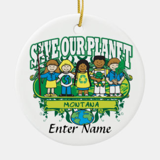 Earth Kids Montana Double-Sided Ceramic Round Christmas Ornament