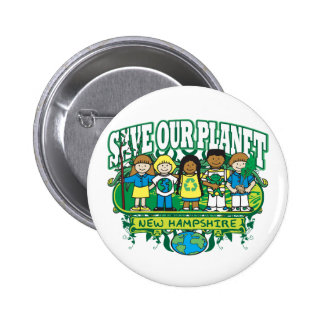 Earth Kids New Hampshire Pinback Button