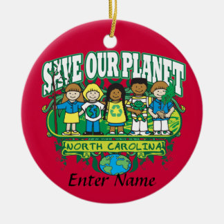 Earth Kids North Carolina Double-Sided Ceramic Round Christmas Ornament