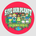 Earth Kids North Carolina Round Stickers