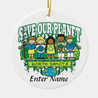 Earth Kids North Dakota Double-Sided Ceramic Round Christmas Ornament