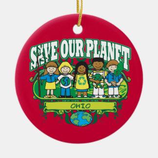 Earth Kids Ohio Ceramic Ornament
