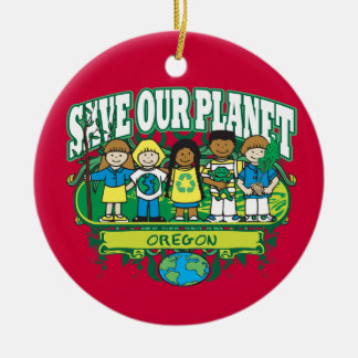 Earth Kids Oregon Double-Sided Ceramic Round Christmas Ornament