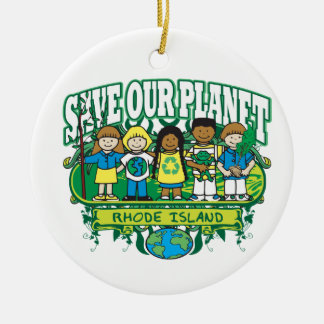 Earth Kids Rhode Island Double-Sided Ceramic Round Christmas Ornament