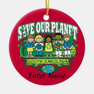 Earth Kids South Carolina Double-Sided Ceramic Round Christmas Ornament