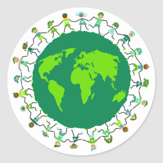 Earth Kids Round Stickers