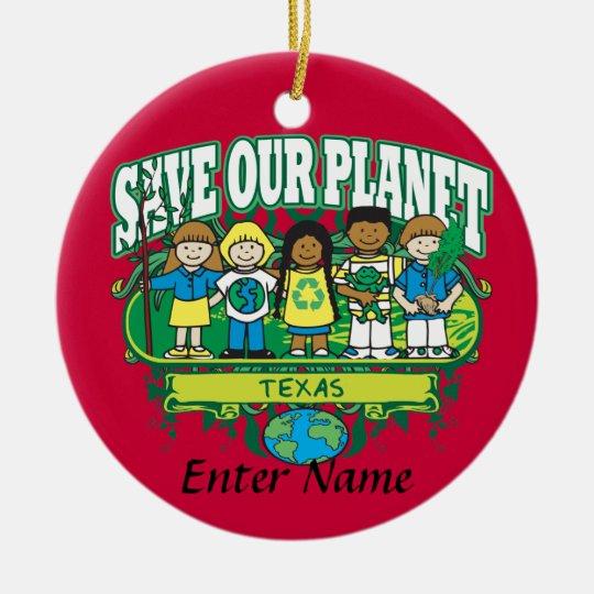 Earth Kids Texas Ceramic Ornament