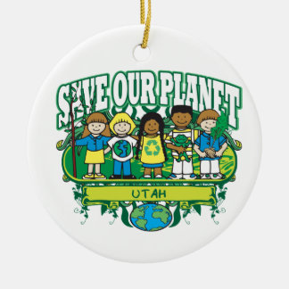 Earth Kids Utah Double-Sided Ceramic Round Christmas Ornament