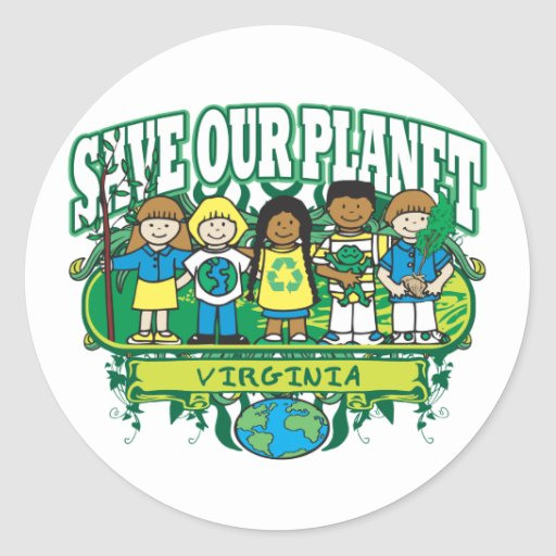 Earth Kids Virginia Classic Round Sticker