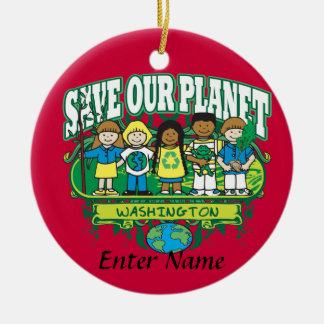 Earth Kids Washington Double-Sided Ceramic Round Christmas Ornament